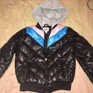 Black vintage cropped bomber jacket  w/ hoodie (S)